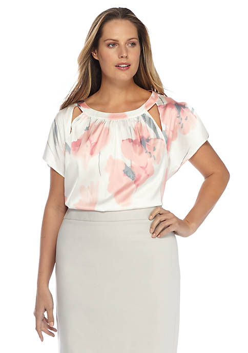 Plus Size Flutter Sleeve Blouse
