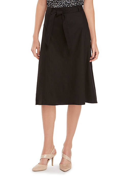 Linen Skirt With Tie Waist