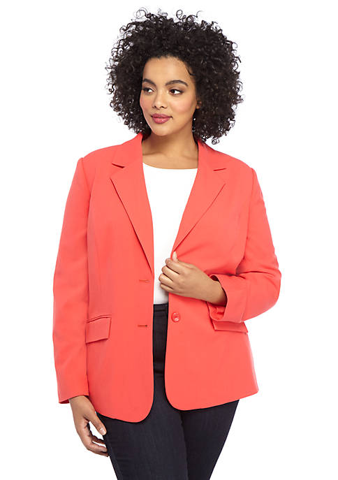 Plus Size Long 2 Button Jacket in Modern Stretch