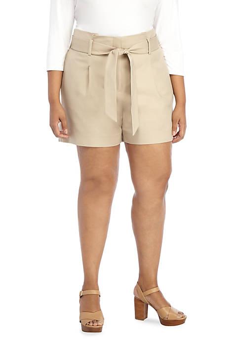 Plus Size Paper Bag Shorts