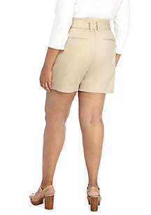 Plus Size Paper Bag Shorts