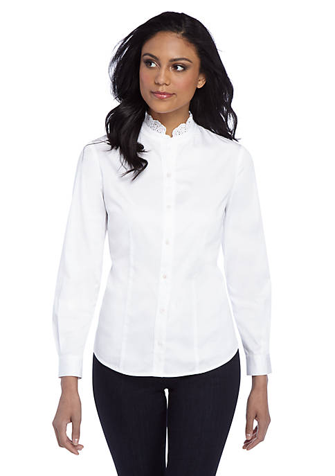 Woven Shirt with Lace Neck