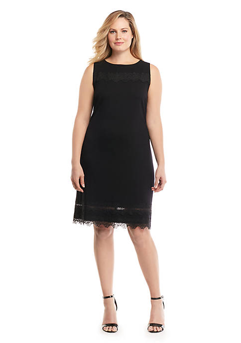 Plus Size Lace Trim Shift Dress