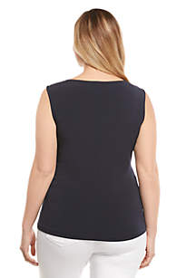 Plus Size Side Ruched Shell Top
