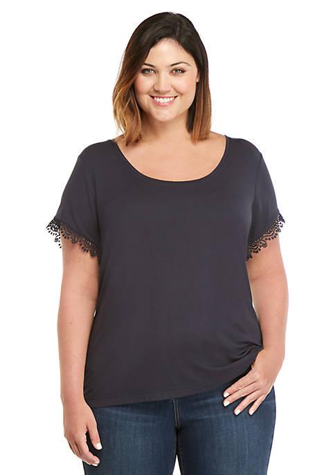 Plus Size Lace Trim T Shirt