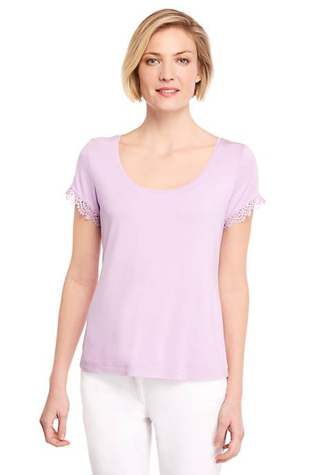 Petite Lace Trim T Shirt
