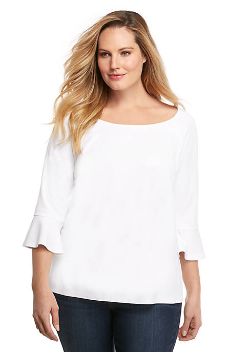 Plus Size 3/4 Ruffle Sleeve Top