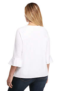 Plus Size 3/4 Ruffle Sleeve Top