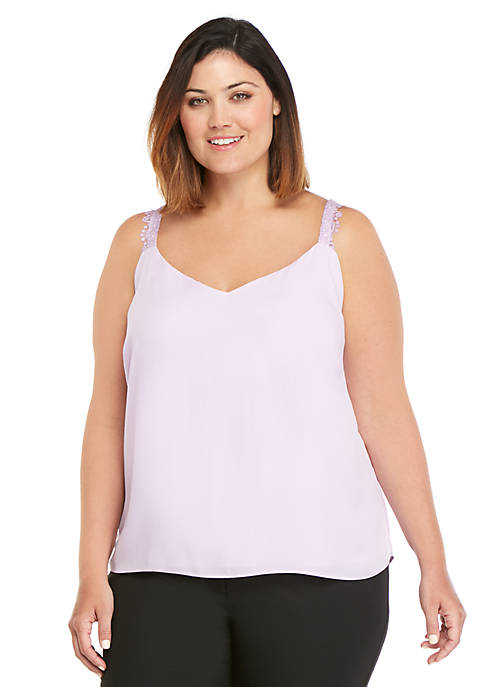 Plus Size Lace Fluid Crepe Tank