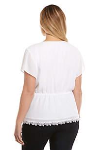 Plus Size Faux Wrap Lace Blouse