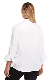 Plus Size Fashion Woven Button Down
