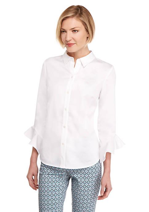 Petite Fashion Woven Button Down Shirt