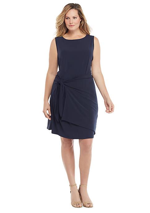Plus Size Sleeveless Sarong Tie Dress