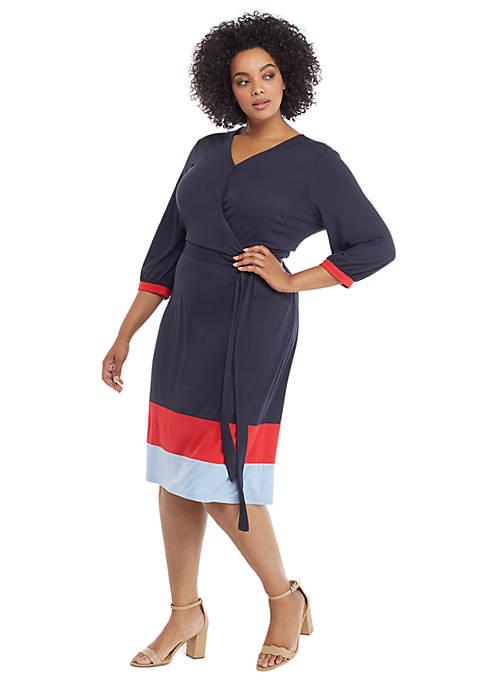 Plus Size Surplice Color Block Hem Dress