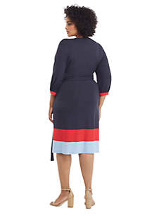 Plus Size Surplice Color Block Hem Dress