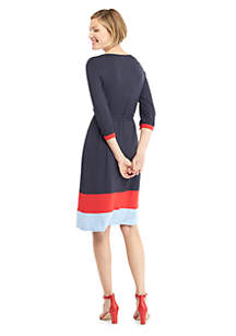 Petite Surplice Color Block Hem Dress