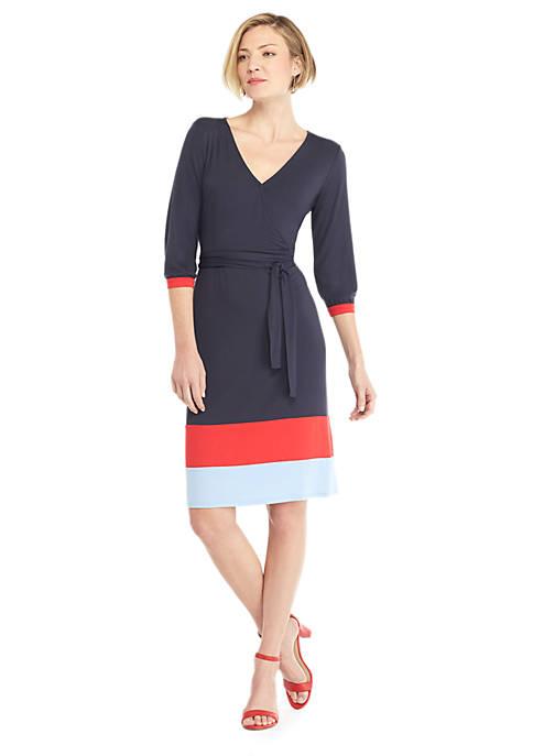 Surplice Color Block Hem Dress