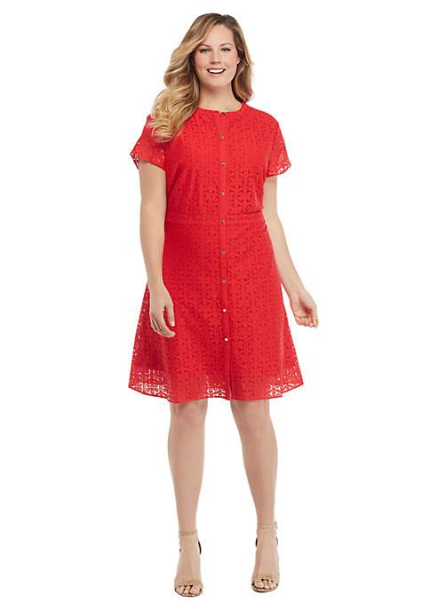 Plus Size Short Sleeve Floral Lace Button Down Dress