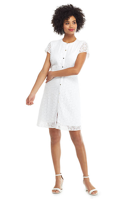 Petite Short Sleeve Floral Lace Button Down Dress