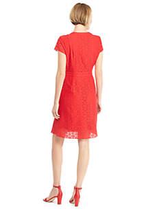 Petite Short Sleeve Floral Lace Button Down Dress