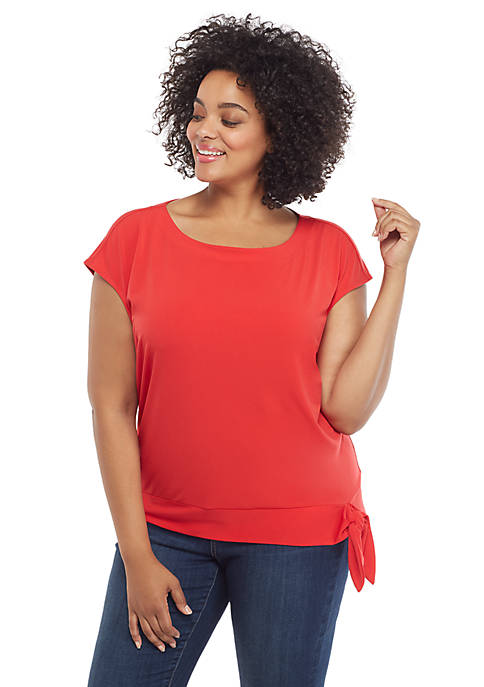 Plus Size Cap Sleeve Banded Bottom Tie Top
