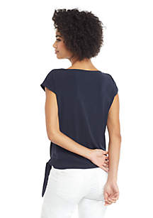 Petite Cap Sleeve Banded Bottom Tie Top