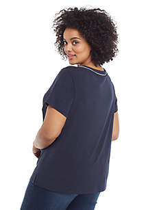 Plus Size Short Sleeve V Neck Piping Trim Top