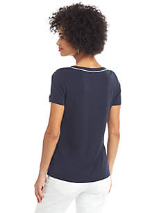 Petite Short Sleeve V Neck Piping Trim Top