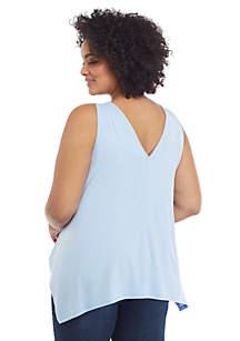 Plus Size Sleeveless V Neck Handkerchief Hem Top