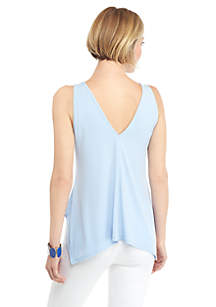 Petite Sleeveless V Neck Handkerchief Hem Top