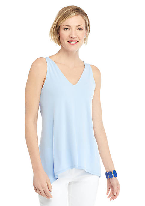 Sleeveless V Neck Handkerchief Hem Top