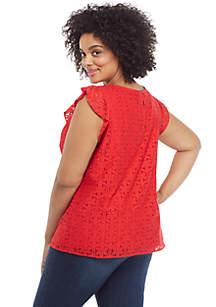 Plus Size Flutter Sleeve Floral Lace Dress