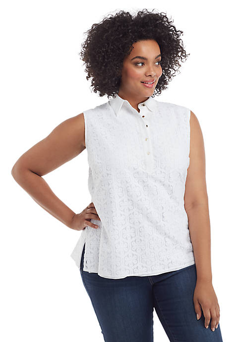 Plus Size Sleeveless Collared Floral Lace Button Down Top