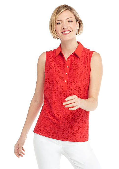 Petite Sleeveless Collared Floral Lace Button Down Top