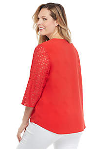 Plus Size Long Sleeve V Neck Button Front Blouse