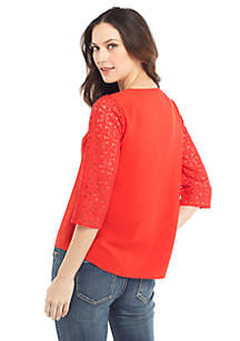 Petite Long Sleeve V Neck Button Front Top