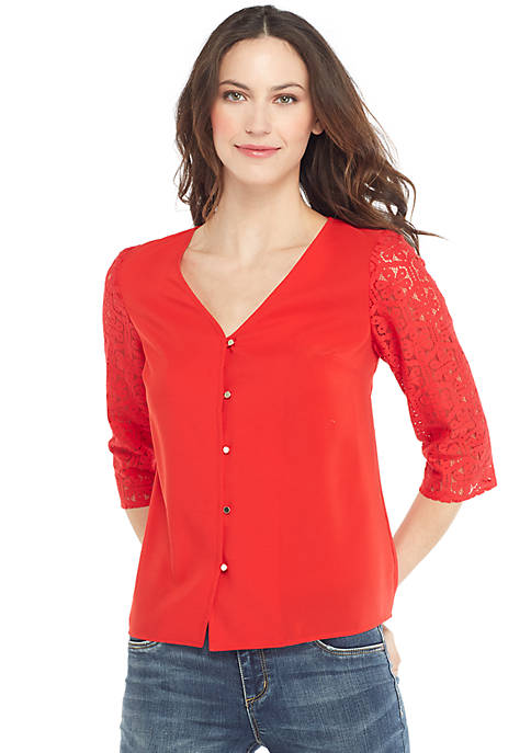 Long Sleeve V Neck Button Front Top
