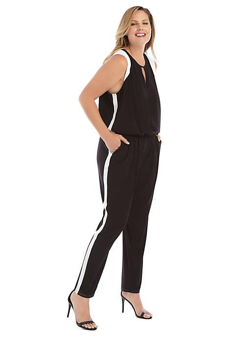 Plus Size Keyhole Stripe Jumpsuit