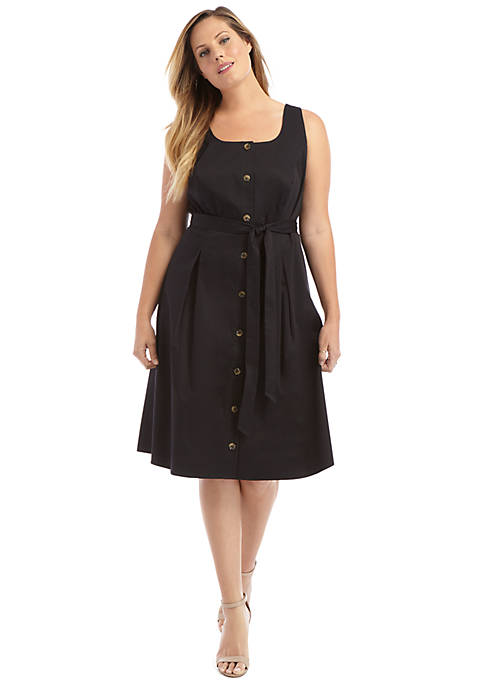 Plus Size Sleeveless Tie Waist Dress
