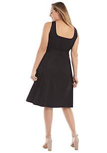 Plus Size Sleeveless Tie Waist Dress