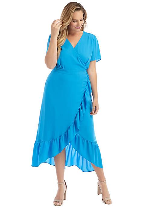 Plus Size Short Sleeve Surplice Ruffle Dress