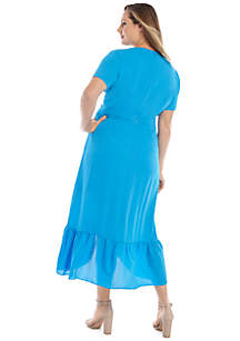 Plus Size Short Sleeve Surplice Ruffle Dress