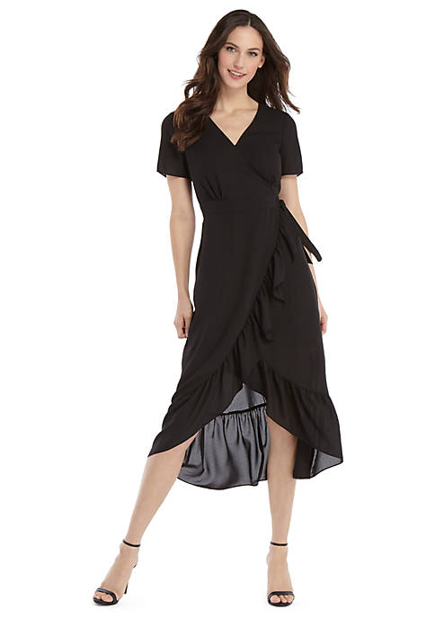 Petite Short Sleeve Surplice Ruffle Dress