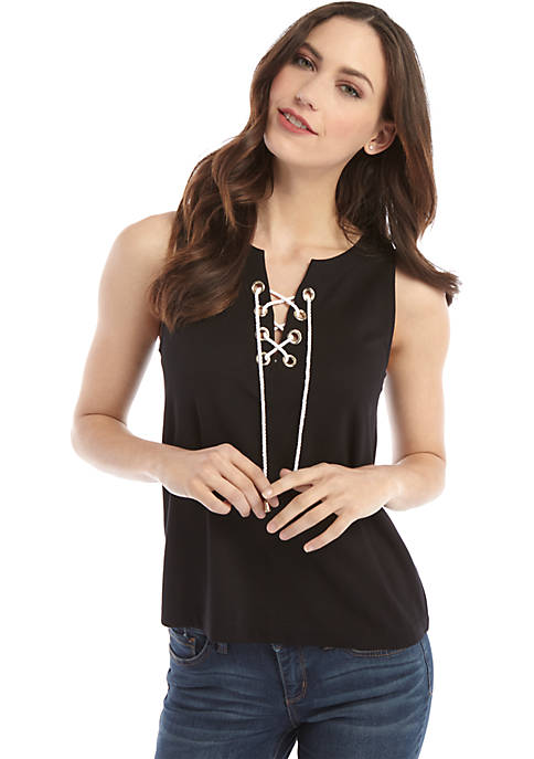 Petite Sleeveless Lace Up Grommet Top