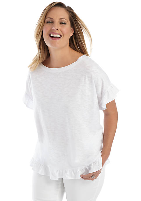 Plus Size Short Sleeve Ruffle Hem Top