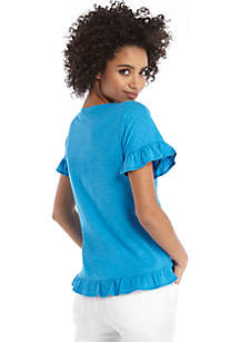 Petite Short Sleeve Ruffle Hem Top