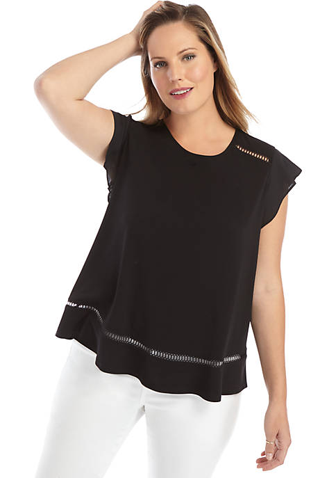 Plus Size Short Flutter Sleeve Detail Top with Flounce Hem