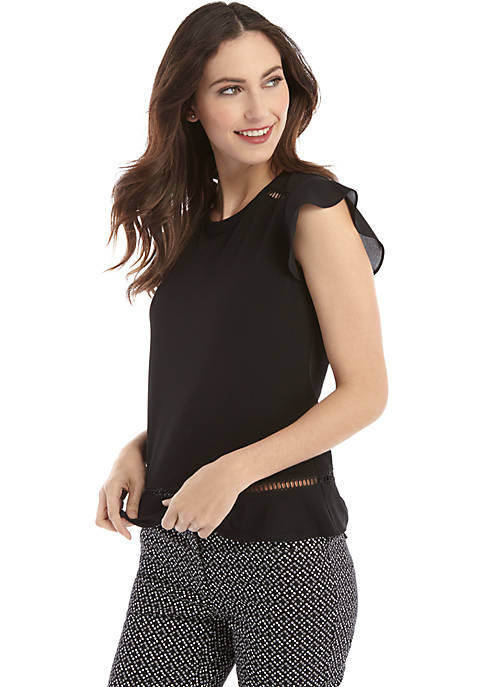Petite Short Flutter Sleeve Detail Top with Flounce Hem