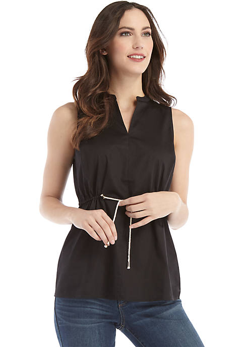 Sleeveless Rope Tie Waist Top