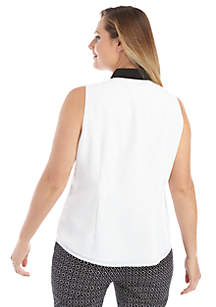 Plus Size Sleeveless Collared Lace Trim Placket Top